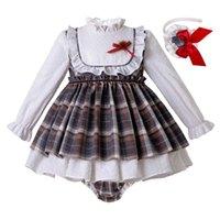 kopfbedeckung 24 groihandel-Pettigirl Weihnachten Mädchen Kleidung Sets Baby-Grid-Kleid + PP Pants + Headwear Boutique Kinder Outfits mit Bögen Rüschen Kinder Kleidung