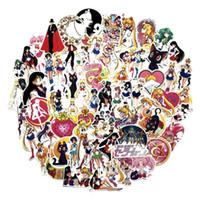 ay bisikleti toptan satış-75 Adet / takım Klasikleri Anime Sailor Moon Sticker Araba Dizüstü Kaykay Bisiklet Su Geçirmez PVC Su buz ay Çıkartmalar Y