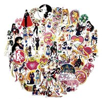 Wholesale moon bicycle resale online - 75 set Classics Anime Sailor Moon Sticker For Car Laptop Skateboard Bicycle Waterproof PVC Water ice moon Stickers Y