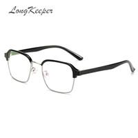 f976921949 LongKeeper TR90 Woman Foldable Glasses Men Square Metal Half Frame Clear  lens Reading Glass Black Silver Gold Eyewear 1776