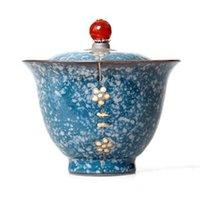çay seramiği toptan satış-Vintage 200 ml Çay Gezdirilir Siyah Zen Japon Tarzı Çömlek Pas Sır Gaiwan Seramik Kung Çay Potu Ev Dekor