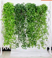 ingrosso piante artificiali da giardino pendenti-Appeso foglie di vite vegetazione artificiale piante artificiali foglie ghirlanda casa giardino decorazioni di nozze decorazione della parete