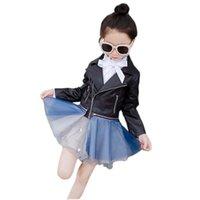 kızlar sahte deri ceket toptan satış-Moda kız deri ceket dantel etek tarzı ceket ceket 3-12years için kızlar çocuklar çocuklar için sahte deri ceket giyim giyim