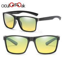 lentes amarillas al por mayor-Mens Day and Night Driving Gafas de sol polarizadas Lente amarilla Hombres Gafas de visión nocturna Piloto unisex Gafas de sol Gafas Gafas