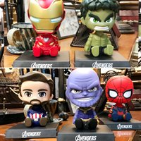 Wholesale marvel models online – design Avengers Toys Q Version Cartoon Spider Man Model Doll Thanos Iron Man Shaking Head Toy Vehicle Ornaments Car Interior Articles zfa N1