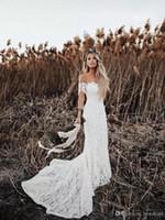 Wholesale elegant country western wedding dresses resale online - Western Country Elegant Boho Lace Wedding Dresses Off Shoulder Short Sleeve Long Bohemian Bridal Dresses Beach Wedding Gowns Sweep Train