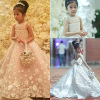 Wholesale gold lace christening gown resale online - Cute Spaghetti Handmade Flower Girls Dresses Bow Belt Bead Princess Kids Floor Length Bridesmaid Dress Girl Pageant Ball Gown BC0518