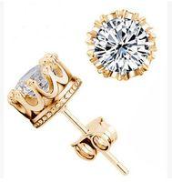 cristal de plata esterlina al por mayor-Banda Nueva Corona Aretes de Boda Nuevo 925 Plata de ley CZ Diamantes Simulados Compromiso Hermosa Joyería Anillos de Cristal