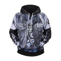 Wholesale leather sweatshirts resale online - Punk Leather Jacket D Printed Mens Designer Hoodies Hip Hop Sweatshirt Casual Male Hooded High Street Pullover Winter Jumper