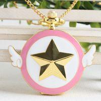 relógio quartzo asa venda por atacado-Adorável Rosa Moda Sailor Moon Quartz Relógio de Bolso Estrela Asas Relógio Cadeia Colar Presentes Para Homens Menina relógio de bolso Cadeia de presente