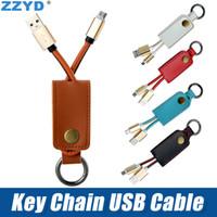 cargador llavero universal al por mayor-ZZYD Cable de llavero Cable de cuero durable Cable USB Cargador de rayos portátil para Iphone 7 8 X Samsung