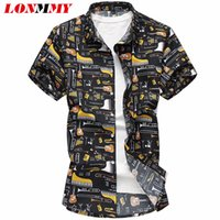 Wholesale punk clothing patterns resale online - Lonmmy xl xl Floral Mens Shirts Blouses Casual Guitar Pattern Punk Style Short Sleeve Flower Shirts Men Clothes Summer Y19071801