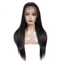 frontlinie haar perücke großhandel-Menschenhaar volle Spitzeperücken vor gezupfte Haarlinie brasilianische gerade 360 Spitze-Frontalperücke mit dem Babyhaar Remy