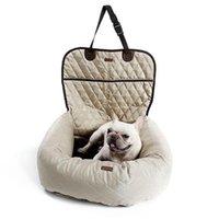 ingrosso borse da viaggio-2 in 1 Dog Pet Carrier Folding Car Seat Carry Pad Safe House Accessori Puppy Bag Car Travel impermeabile Cane sede del sacchetto carrello