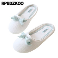Wholesale indoor korean slippers resale online - home bedroom slides house slippers white guest footwear floor autumn indoor fashion shoes women cute bow korean