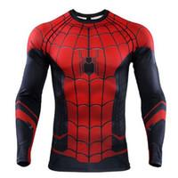 новые костюмы для мужчин оптовых-Новое лето паук стих 3D печатных футболки мужчины Человек-Паук сжатия рубашки 2019 топы мужские комиксы косплей костюм
