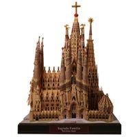 yapboz oyunları toptan satış-DIY Sagrada Familia, İspanya Zanaat Kağıt Modeli Mimarisi 3D DIY Eğitim Oyuncaklar El Yapımı Yetişkin Bulmaca Oyunu Y190530