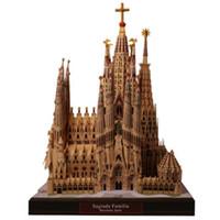 ingrosso mestieri adulti diy-Fai da te Sagrada Familia, Spagna Carta artigianale Modello Architettura 3D Educazione fai da te Giocattoli Handmade Puzzle Game adulti Y190530