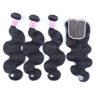Wholesale closure online - Ais Hair Indian Virgin Hair With Closures Extensions Bundles Straight With x4 Closure Unprocessed Remy Human Hair Weaves