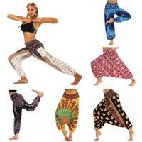 mulheres soltas das calças cabidas venda por atacado-Mulheres Lanterna Calças Exercício Fino Yoga Esportes Étnicos calças de Pernas Largas Tailândia Elástico de Dança Solta Montagem Calças de Praia Frete Grátis novo