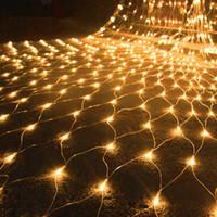 xmas light net venda por atacado-1.5Mx1.5M 3Mx2M 3Mx3M 6Mx4M 10Mx8M Net LED Malha Fada Corda Luz Jardim Ao Ar Livre Pátio Cortina Da Janela Xmas Casamento Feriado Garland luz