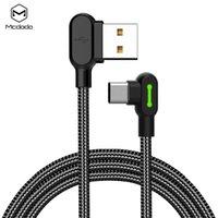 derece usb adaptörü toptan satış-MCDODO Mikro USB Kablosu Tip-C Kablo 90 derece Hızlı Şarj Kablosu Cep Telefonu Şarj Kablosu Adaptörü oyun usb