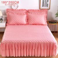 ropa de cama rosa gris reina al por mayor-Pink Purple Gray Solid Cotton Cama individual con una cama doble Falda Cubierta de colchón Petticoat Twin Cama Queen completa Faldas Juegos de sábanas y ropa de cama