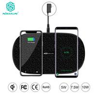 nillkin qi беспроводной зарядное устройство оптовых-Nillkin Fast Dual 2 в 1 беспроводное зарядное устройство для Xiaomi 9 Mix 2S Qi Pad для Samsung Galaxy S10 5 г S10 + S10e для Iphone XS Макс X X X J190427