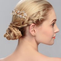 Wholesale girls wedding party pageant resale online - Rose Gold Metal Hair Combs for Bridal Pearls Flowers Rhinestones Wedding Jewelry Sliver Gold Girls Pageant Party Headpiece