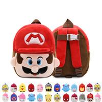 erkekler için bebek bezi çantaları toptan satış-Yeni varış 26 * 24 * 9 CM Pamuk Avengers Süper Mario Bros Kaptan Amerika Demir Adam Örümcek-Adam Mini Okul Çantası Peluş Sırt Çantaları Bebek Hediyeleri Için