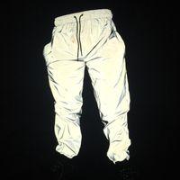 ingrosso pantaloni da jogging lunghezza ginocchio-Pantaloni da uomo riflettenti 3M Pantaloni corti da ballo Hip Hop Pantaloni da jogging harajuku Pantaloni da notte riflettenti