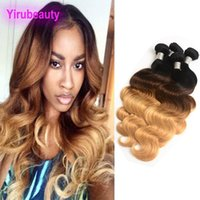 Wholesale 27 piece hair weave resale online - Indian Virgin Hair Extensions Bundles B Ombre Body Wave Three Pieces B Human Hair Wefts Hair Products