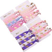 düğümlü elastik saç bağları toptan satış-Elastik Hairband Ilmek Altın Varak Tekboynuzlar / At Kızlar Için Baskılı düğümlü El Bandı Saç Kravatlar Şapkalar