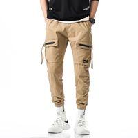 fermuar harem t-shirt erkek toptan satış-2019 Erkekler Joggers Pantolon erkek hip hop Harem Pantolon Erkek streetwear Fermuar Dekorasyon Pantolon Katı Sweatpants kargo pantolon erkekler
