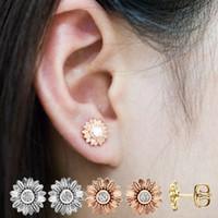 espárragos de girasol de oro al por mayor-2019 Nueva CZ Piedra Joyería de Moda Femme Oro Plata Color Lindo Girasol Cristalino Pendientes para las orejas de las mujeres Stud Envío de la gota