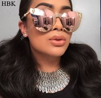 Wholesale sunglasses skull for sale - Rose Gold Sunglasses Women Skull Mirror Diamond Brand Designer Metal Frame Sun Glasses Mirror Flat Lens Lunettes De Soleil