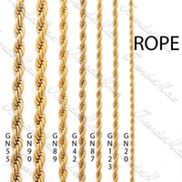 ingrosso mens della catena dell'oro 24k-24K Gold Color Filled 3 4 5 6mm Collana con catena placcata oro Collana da donna classica da uomo