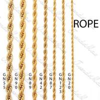 collar de cadena de cuerda de oro amarillo de 14 k al por mayor-24 K color dorado lleno 3 4 5 6 mm chapado en oro collar de cadena de cuerda para hombre clásico para mujer cadena de joyería de regalo