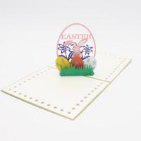 ingrosso regali fatti a mano di pasqua-Biglietto d'invito di Pasqua Stereoscopico piccolo biglietto di auguri fatti a mano Regali popolari Carta d'arte creativa Scava fuori le vendite calde Moda 5zyC1