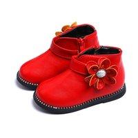 botas vermelhas para bebé venda por atacado-Inverno Novas Crianças Flor Bebês Meninas Botas de Neve de Couro Sapatos Para Crianças Meninas Martin Snowboots 2 3 4 7 Anos Vermelho Rosa Preto