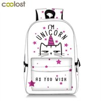 Wholesale best backpacks for school resale online - Kawaii Kitten Unicorn Backpack For Teenage Girls Cartoon Cat Children School Bags Women Travel Backpack Kids Book Bag Best Gift J190522