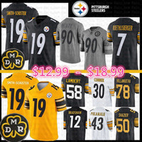 camisas de ben venda por atacado-19 Juju Smith-Schuster Pittsburgh Jersey Steelers 55 Devin Bush 7 Ben Roethlisberger James Conner Ryan Shazier Polamalu T.J. Watt Villanueva