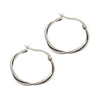 bükülmüş halka küpeler toptan satış-Retro Twisted Çember Yüzük 925 Ayar Gümüş Hoop Küpeler