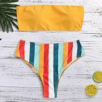 micro yellow bikini beach achat en gros de-Femmes sexy Imprimer Soutien-gorge rembourré Push-Up Beach Bikini Beach Maillot de bain Beachwear Maillot de bain Aucune bandoulière deux pièces jaune