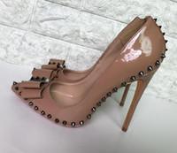 ботинки платья ню цвета оптовых-Обнаженный цвет Заклепки с шипами на высоких каблуках из лакированной искусственной кожи эксклюзивный бренд иглы острый заклепки на высоких каблуках женские туфли 10см 12см 8см
