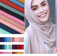 Wholesale scarfs hijabs for sale - Women plain bubble chiffon scarf hijab wrap solid color shawls headband muslim hijabs scarves scarf colors D0430