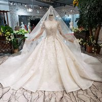 Wholesale lace styles photos resale online - 2019 Newest Design Croatia Style Wedding Dresses Long Lace Tulle Veil And Train Wedding Gowns Tassel High Neck Detail Applique Bridal Gowns