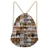 Wholesale cat drawstring backpacks for sale - Group buy ThiKin Fashion Backpack Cat Dog Printing Travel Softback Girl Women Shoulder Bag Female Backpacks Polyester Drawstring Bag