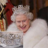 acessórios europeus do cabelo do casamento venda por atacado-Nupcial Da Coroa Da Rainha Elizabeth Crown Barroco Europeu Acessórios de Cabelo de Casamento Barriga Beleza Grampos de Cabelo