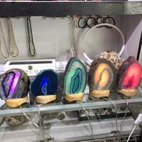 mesas de lâmpada roxa venda por atacado-Ágata Natural Geode Nightlight-Dyed Roxo Mineral Geode Druzy Fatia de Mesa LED Night Desk Candeeiro de Mesa de Decoração de Natal